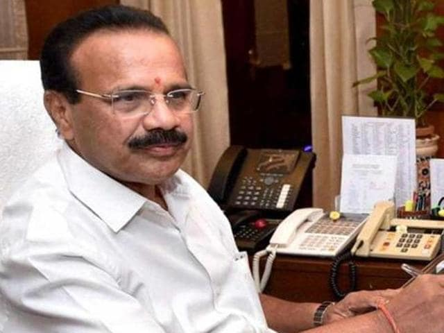 Union minister DV Sadananada Gowda in his office.(AFP File Photo)