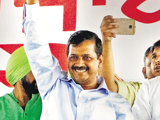 APP convener Arvind Kejriwal at a rally at Nihalsinghwala in Moga district on Tuesday.