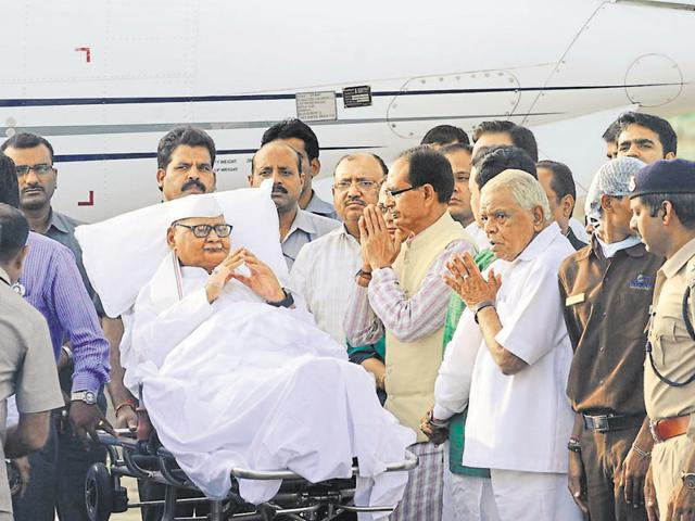 Ram Naresh Yadav before being airlifted to Lucknow.
