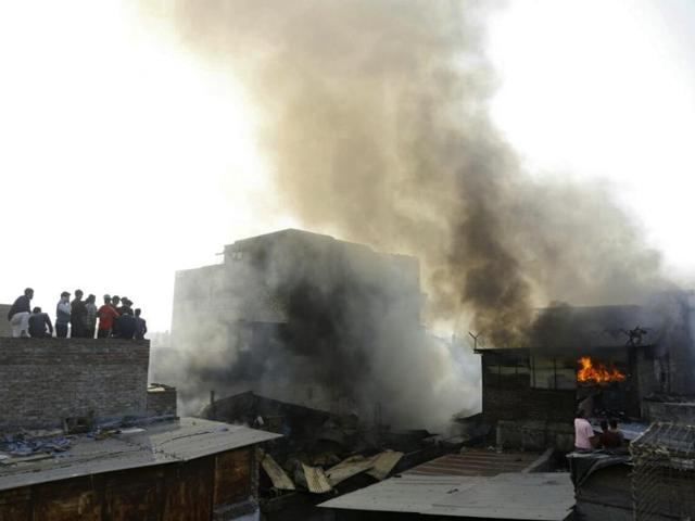 Fire at Sadar Bazar in New Delhi.