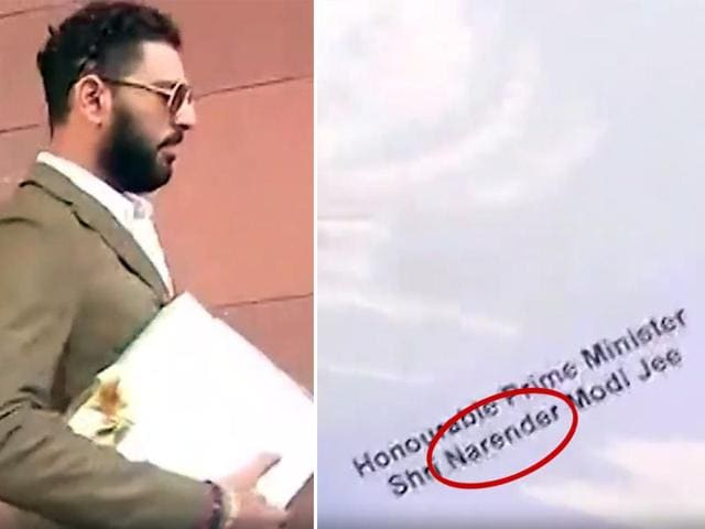 Yuvraj Singh has misspelled Prime Minister Narendra Modi's name in his wedding invitation.