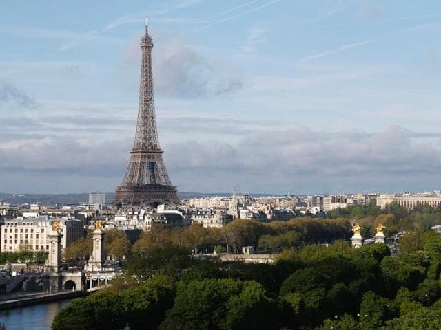 This file photo taken on April 06, 2014 shows the Eiffel Tower in Paris.