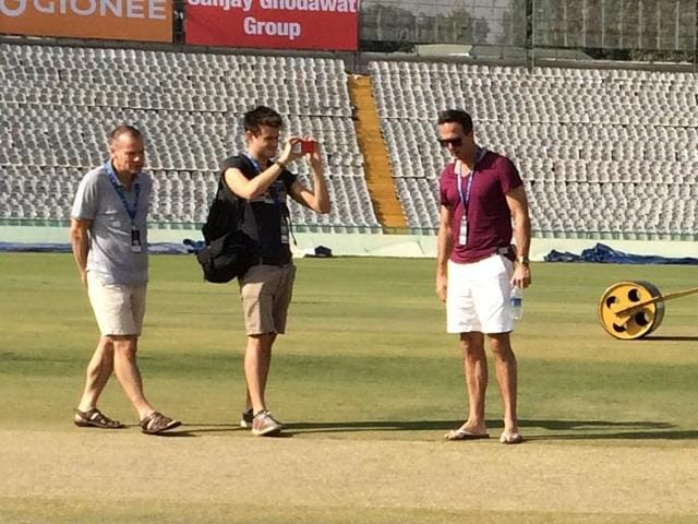 Former England captain Michael Vaughan, who writes a column for a paper, spent time near the pitch and prepared a video on its nature while deputy curator Rakesh Kumar asked him to move away.(HT)