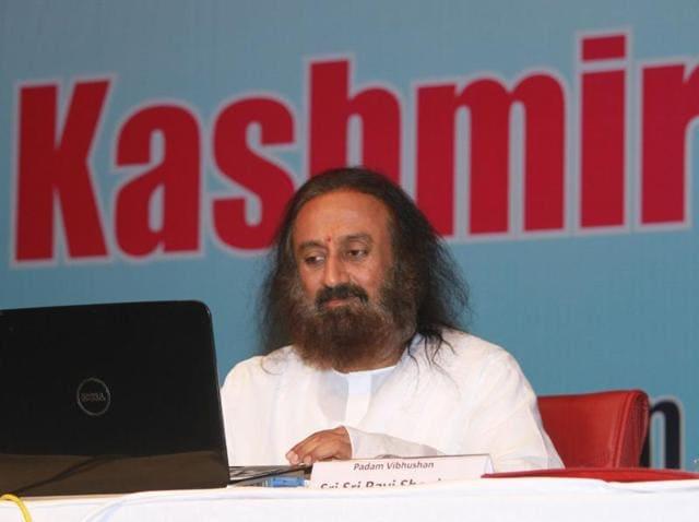Spiritual guru Sri Sri Ravi Shankar adressing a gathering in Jammu on Wednesday.