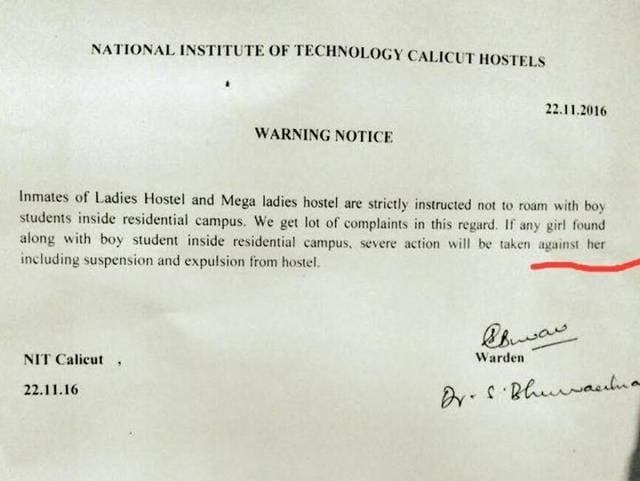 The management withdrew the rule after students affairs council of NIT-Calicut took up the issue with chief warden.(Facebook)