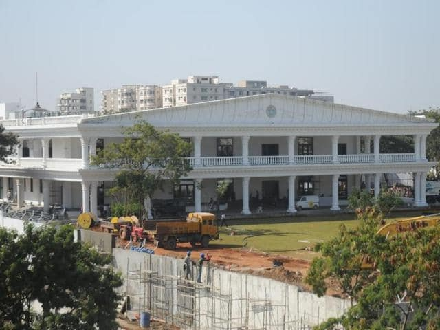Spread over nearly nine acres of land, the highly fortified building has been constructed at a cost of nearly Rs 50 crore.(HT Photo)