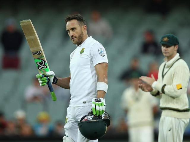 Faf du Plessis slammed his second century in Adelaide as he led from the front in the Pink Ball Test.