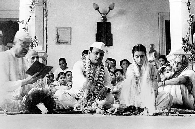 The marriage of Feroze Gandhi and Indira Nehru on August 2, 1942. At extreme right is Vijaya Lakshmi Pandit, sister of Nehru. The simple ceremony attended by many stalwarts of the Congress Party was solemnised by Pandit Lakshmi Dhar Shastri, a Sanskrit professor at Delhi University