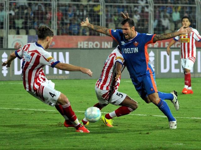 Action from the FC Goa and Mumbai City FC match in the Indian Super League in Fatorda on Thursday.