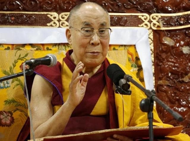 Tibet's exiled spiritual leader the Dalai Lama addresses those gathered at Buyant Ukhaa sport palace in Ulaanbaatar, Mongolia on Monday.