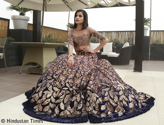 A magnificent lehenga teamed with a sheer blouse from Manish Malhotra's collection, A Persian Story.