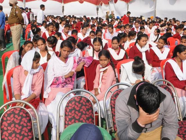 School students among the audience at the ITI inauguration by Sukhbir Badal at Sofi village on the outskirts of Jalandhar on Thursday, November 24.