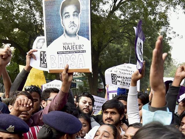 Protest against missing JNU  student Najeeb Ahmed in Mumbai on Thursday.