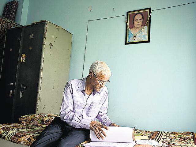 Saryug Prasad at his home at Bapraula village in New Delhi. Prasad lost his wife Kamla Devi due to the negligence and misdiagnosis by doctors.