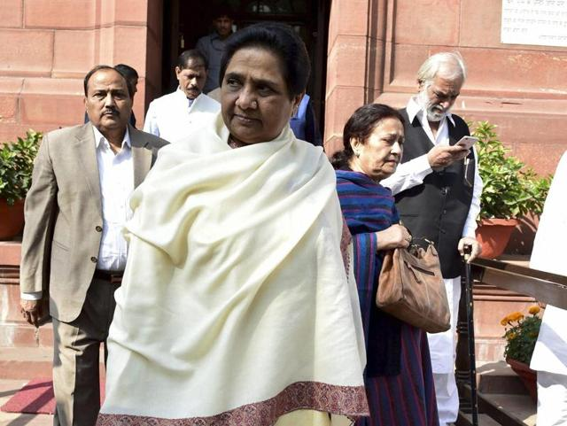 BSP chief Mayawati at Parliament during the winter session, in New Delhi.