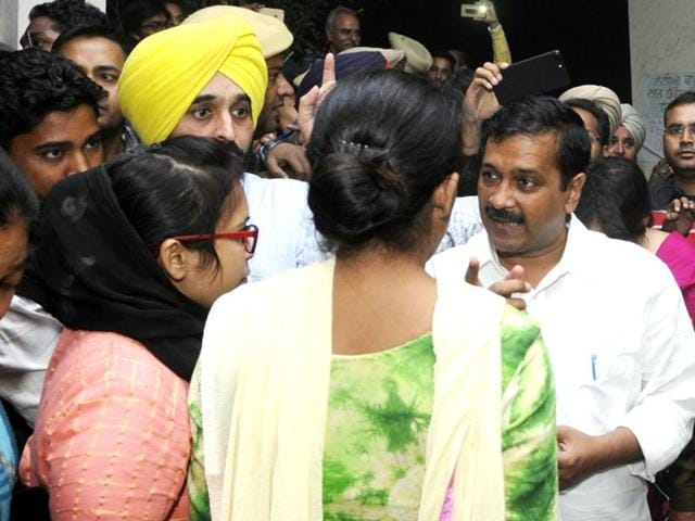 Delhi CM Arvind Kejriwal at Rajindra Hospital in Patiala on Wednesday.