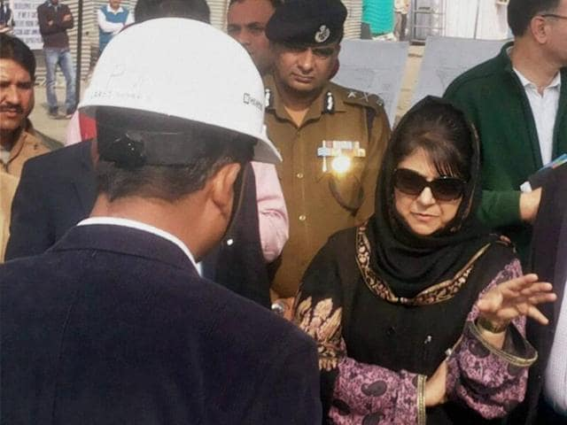 Jammu and Kashmir chief minister Mehbooba Mufti takes stock of development works in Jammu.