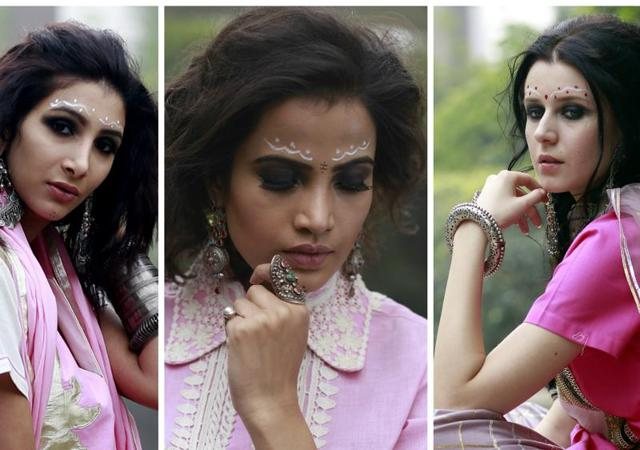 The face art donned by models  is inspired by a Bengali bride. The zig-zag pattern adds twist and fun to the entire look.