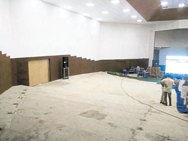 Unfinished and incomplete AIIMS auditorium. where the conference on sexually transmitted diseases is being held.
