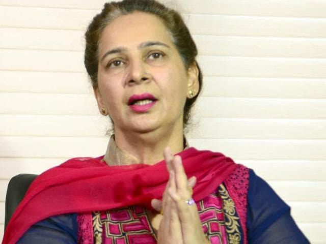 Dr Navjot Kaur Sidhu interacting with the media at her residence in Amritsar on Friday, November 25.