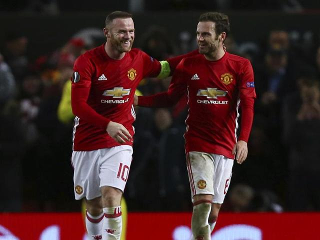 Wayne Rooney surpassed Ruud van Nistelrooy's tally of goals for Manchester United FC as they thrashed Feyenoord 4-0 in the Europa League.(AP)