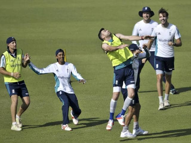 Then the England players indulged in a fun but very physical football match -- their active, warm-down routine. (Ravi kumar/ht photo)
