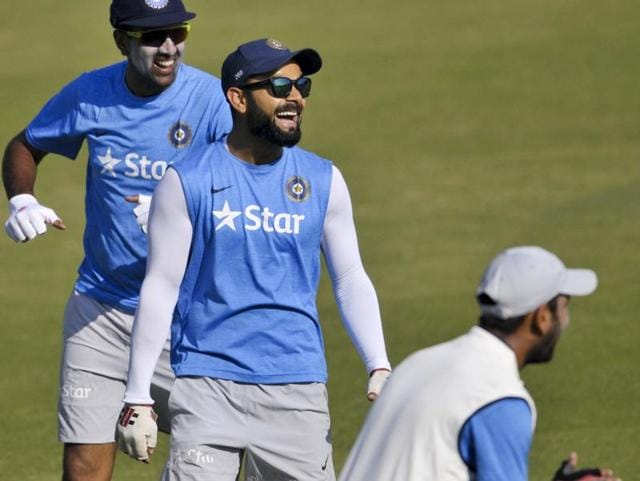 The fielding drills kept all the players on their toes though Virat Kohli ensured the session was not just about workout but also about having some fun under the sun with the boys. (Ravi kumar/ht photo)