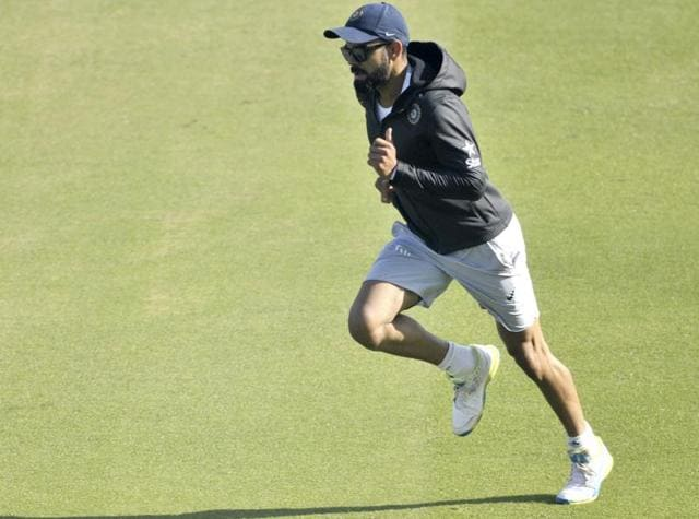 Virat Kohli ended his training with a cool-down run, sticking to the elaborate fitness regimen that he is known for. (Ravi kumar/ht photo)