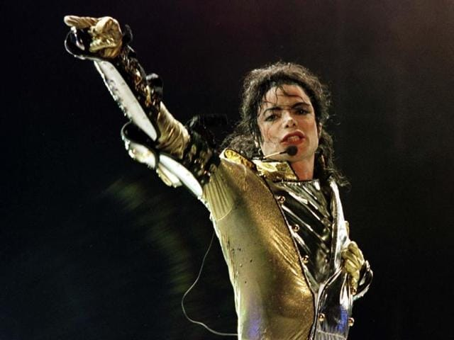 Michael Jackson performs during his HIStory World Tour concert in Vienna.