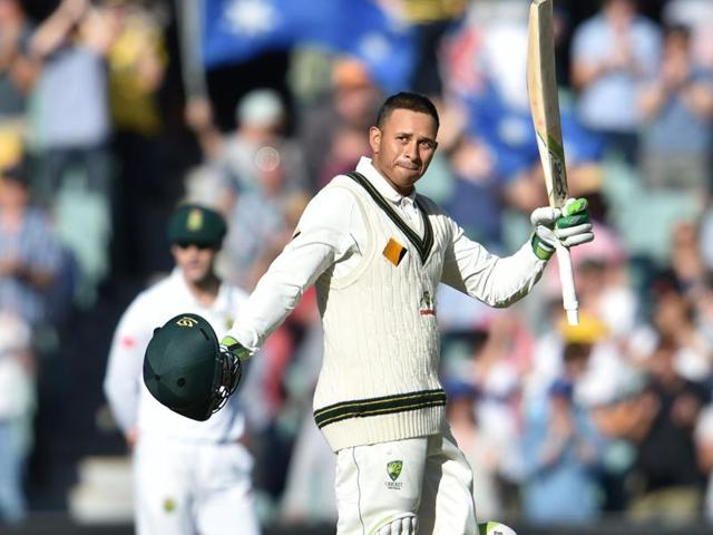 Usman Khawaja became the fourth batsman to score a century in the Pink Ball Test.(AFP)