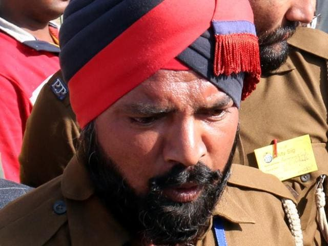 Constable Kanwaljeet Singh who deputed at the gate of the venue of Prime Minister Narendra Modi's rally in Bathinda on Friday.