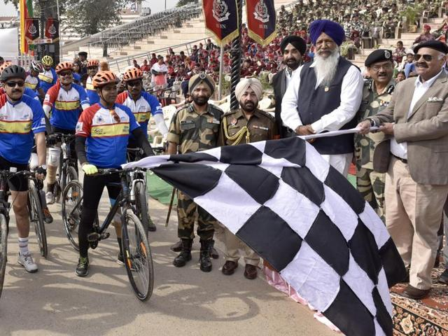 A physically-challenged cyclist participating in the 9-day expedition in Amritsar on Thursday.