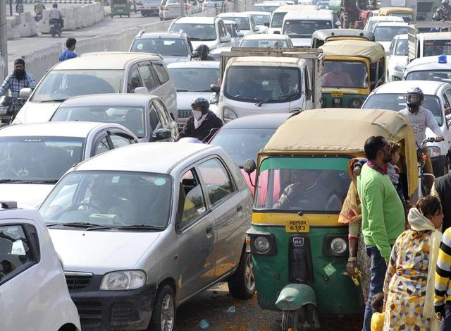 Traffic chaos during the Valmiki Murti Darshan Yatra on Ferozepur Road in Ludhiana on Thursday.
