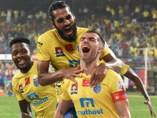 Kerala Blasters FC players celebrates after scoring a goal against FC Pune City during the Indian Super League ( ISL) match in Kochi on Friday.