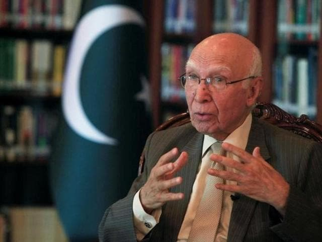 File photo of Pakistan's foreign policy chief Sartaj Aziz at the Organisation of Islamic Cooperation (OIC) foreign ministers' meeting in Mecca on November 17, 2016.