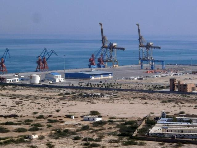 This file photograph shows the construction site at Gwadar port in the Arabian Sea.