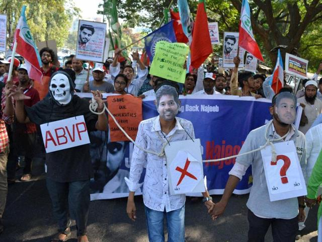 JNU students carry out a dharna to find Najeeb Ahmed, a fellow student who has been missing since October 15, 2016. Ahmed disappeared after an altercation with alleged ABVP members.