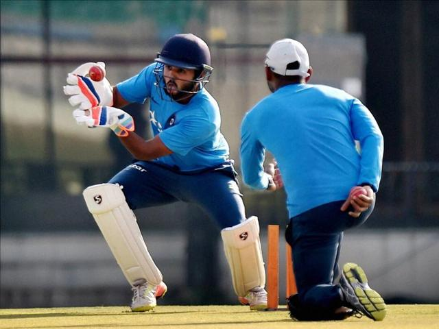 Parthiv Patel, back in the Indian Test team after eight long years, didn't show any signs of rust as he was taken through the paces by the coaching staff. (PTI)