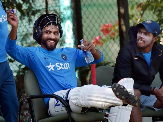 Ravindra Jadeja and Umesh Yadav at a practice session in Mohali on Friday