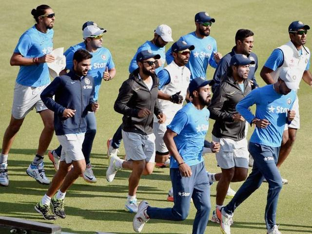 India captain Virat Kohli (centre)led the squad through the training session at the PCAStadium in Mohali on Friday. The third Test against Alastair Cook-led England starts on Saturday.