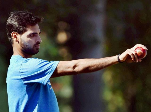 Bhuvneshwar Kumar, who is back in the side after recovering from a back strain (which he suffered during the second Test against New Zealand), is unlikely to get a call-up to the playing XI. But the young fast bowler was very active at the nets, bowling to Virat Kohli and Co. (PTI)