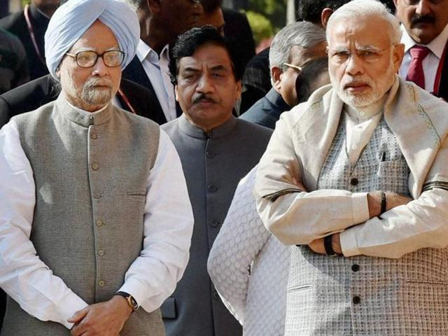 """Manmohan Singh, an economist and former PM, charged the NDAwith """"legalised plunder"""" over their"""