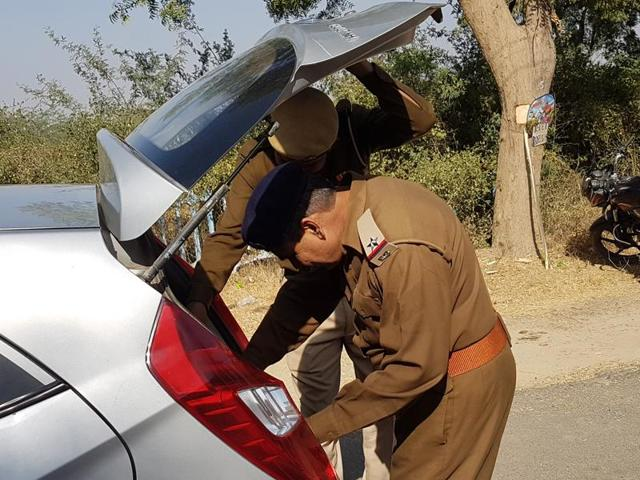 Vehicles being checked at the main gate of Hisar airport on Friday.