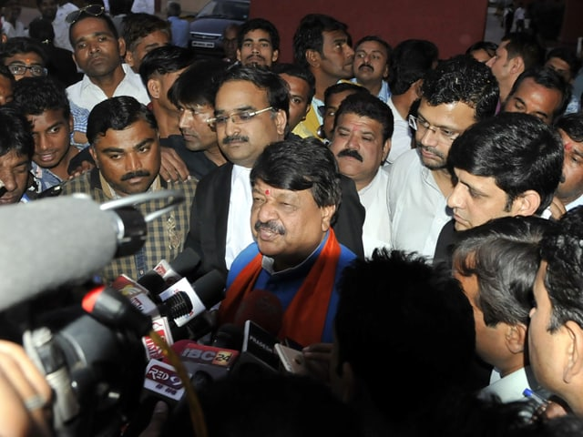 National BJP general secretary Kailash Vijayvargiya after the hearing at High Court in Indore on Friday.