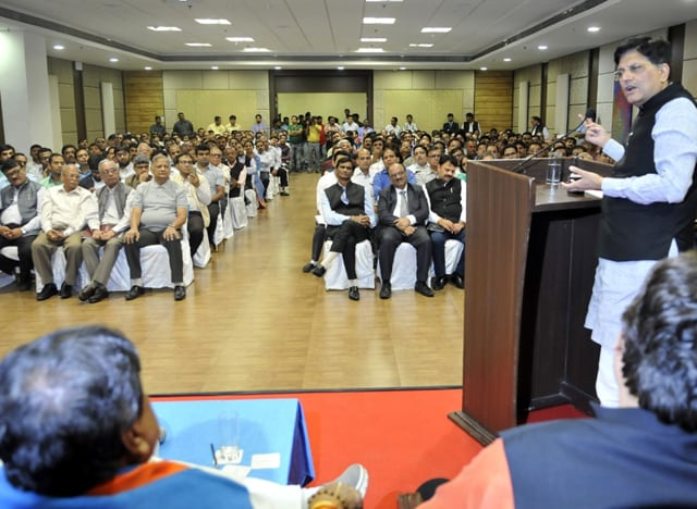Union Power minister Piyush Goyal addresses industrialists at Brilliant Convention Centre in Indore on Friday.