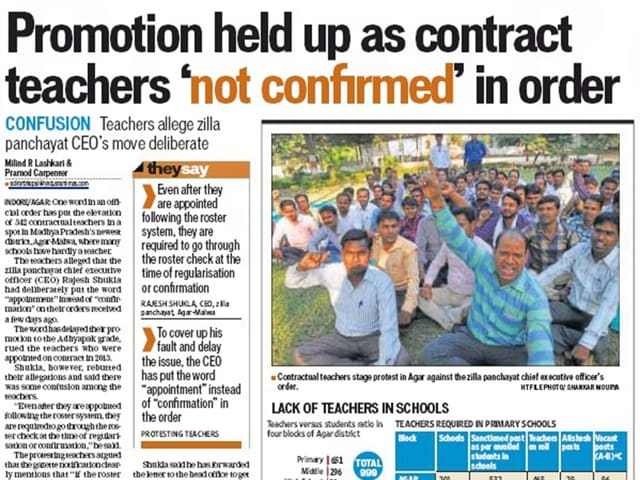 Hindustan Times article dated Nov 21 had highlighted the issue of contractual teachers' confirmation being stalled over a word in official order.