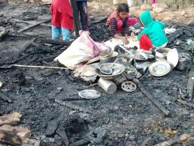 The fire started in Narwal area of Jammu city around 12 am in the slum area where dozens of families of Rohingya Muslims from Myanmar have taken shelter.