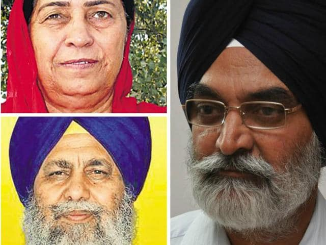 Clockwise from right: Darbara Singh Guru, Gobind Singh Longowal and Mohinder Kaur Josh.(HT File Photos)
