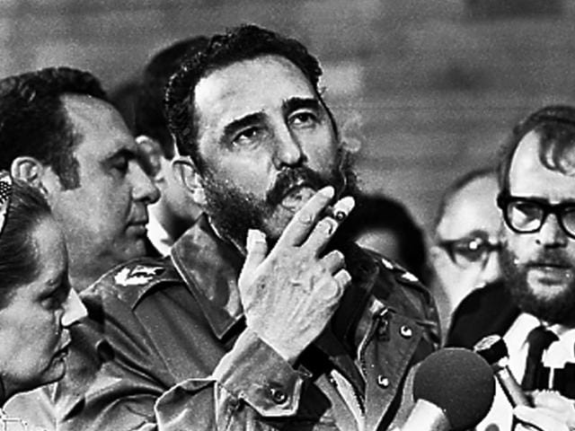 Then Cuban President Fidel Castro addresses the audience as president of the Non-Aligned Movement at the United Nations in New York on October 12, 1979