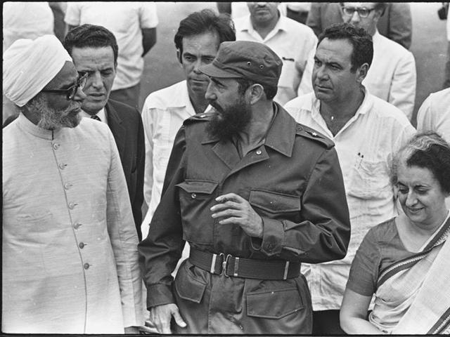 07 August 1983 - Then Indian Prime Minister Indira Gandhi with President of Cuba Fidel Castro during the opening ceremony of the Non Aligned Movement conference on August 7, 1983.